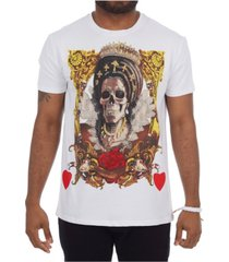 heads or tails 3d graphic printed skulled queen studded t-shirt