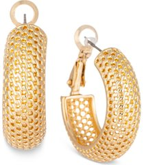 charter club gold-tone patterned oval hoop earrings, created for macy's