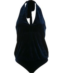 adriana degreas velvet halterneck bodysuit - blue