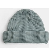 mens blue ribbed docker beanie