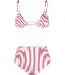 antonella rizza stripe-print triangle bikini set - red