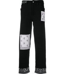barrie cashmere bandana boyfriend-cut trousers - black