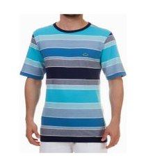 camiseta pau a pique listrada azul turquesa