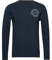 organic cotton longsleeve tee with chest artwork t-shirts long-sleeved blå scotch & soda