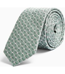 mens green sage geometric tile print tie