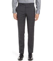 men's zanella curtis plaid flat front slim fit wool dress pants, size 35 - grey
