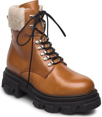 chuncky ski shoes boots ankle boots ankle boot - flat brun apair