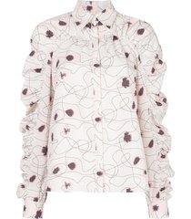 baum und pferdgarten abstract-print seersucker shirt - white