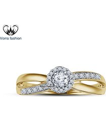 criss cross engagement ring in round cut cz 14k gold plated 925 sterling silver
