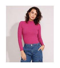 blusa canelada básica com frufru manga longa gola alta roxa