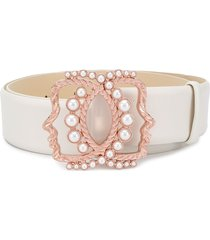 vivetta faux-pearl embellished belt - white