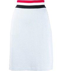 thom browne rwb-detail seersucker skirt - blue
