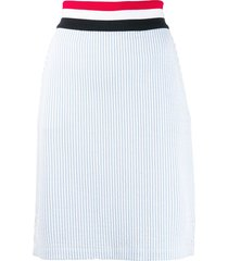 thom browne rwb-detail seersucker skirt - blue