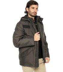 chaqueta gris preppy 3/4 acolchada en plumas - capota