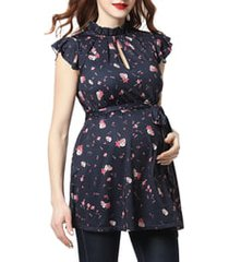 women's kimi and kai camellia floral flutter sleeve belted maternity top, size 1x - blue