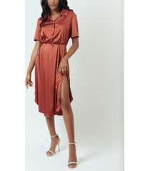 kilo brava simulated silk satin mini slip dress