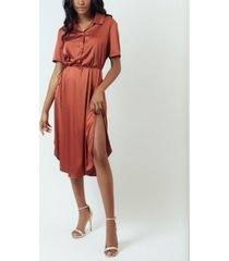 simulated silk satin sleep shirtdress