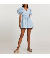 river island womens blue short puff sleeve shirred waist playsuit