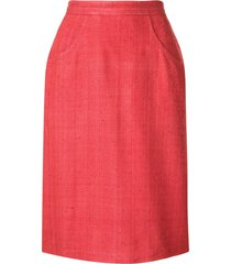 yves saint laurent pre-owned straight distressed skirt - red