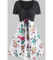 2 in 1 dinosaur print drawstring mini short sleeve dress