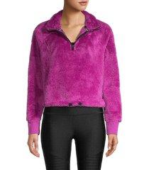 calvin klein performance women's plush knit popover - vivid violet - size l