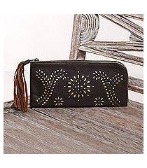 leather wallet clutch, 'prambanan fireworks in brown' (indonesia)