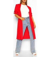 maxi kimono met korte mouwen en franjes, rood