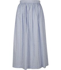 ermanno scervino embellished stripe print long skirt