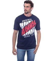 camiseta fatal básica estampada azul marinho