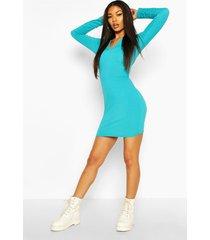 jumbo rib v-neck rib bodycon dress, turquoise