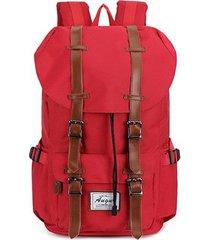 mochila para hombre, mochila de cuero unisex mochila de nylon mochilas-rojo