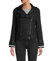 central park west women's long-sleeve hooded jacket - black - size m