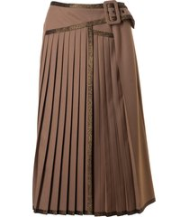 marco de vincenzo pleated long belted skirt