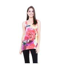 blusa 101 resort wear tunica regata mullet malha flame chifon estampada floral