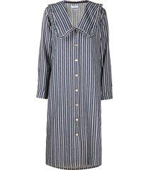 ganni peter-pan collar striped denim dress - blue