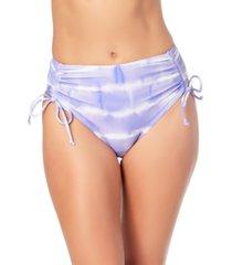 california waves juniors' tie-dyed high-waist bikini bottoms, created for macy's women's swimsuit