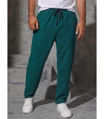 hombre vendimia corduroy cordón cintura elástica casual pantalones