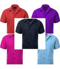 guayaberas men's short sleeve casual cuban beach wedding dress shirts