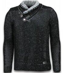 black number gebreide heren trui zwart