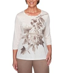 alfred dunner petite first frost asymmetrical-floral knit top