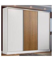 guarda roupa casal 100% mdf madesa zurique 3 portas de correr - branco/branco/rustic branco