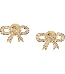 irene neuwirth 18kt yellow gold diamond bow earrings