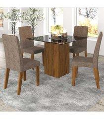 mesa de jantar 4 lugares bolero com vidro preto 11559 seda/malta - mobilarte móveis