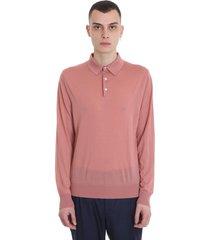 ermenegildo zegna polo in rose-pink wool