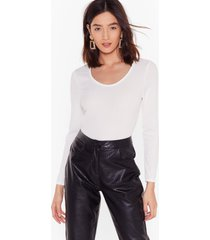 womens scoop neckline white bodysuit with long sleeves