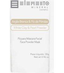 máscara facial elemento mineral argila branca com pó de pérolas 30g