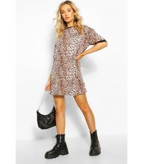 luipaardprint t-shirtjurk, bruin