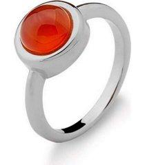 anel infantil solitário agata vermelha pedra natural di capri semi jóias x ouro branco incolor