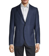 saks fifth avenue made in italy men's classic check sport jacket - blue black - size 38 r