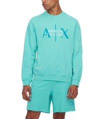 ax armani exchange men's double logo-print french terry sweatshirt